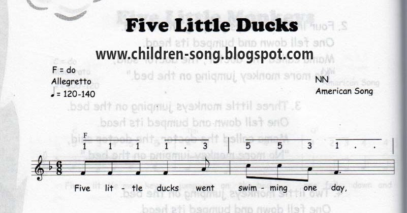 Five Little Ducks Song With Notes And Chords