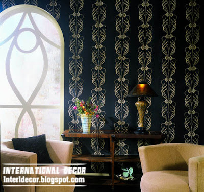 classic black wallpaper and wall covering in black