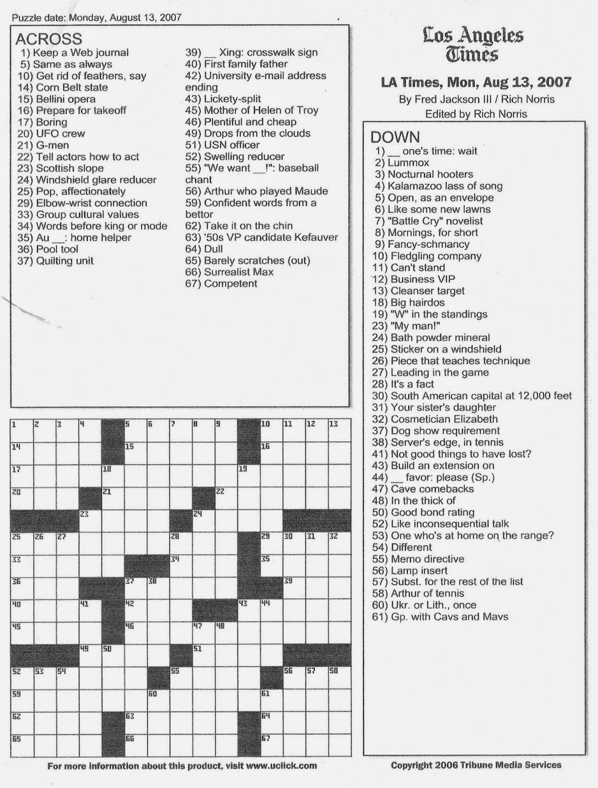 Adaptable image intended for printable usa today crosswords