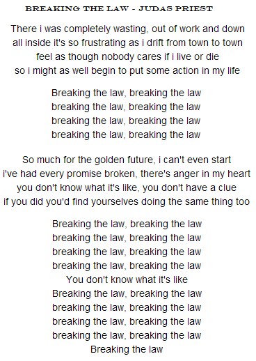 letra breaking the law