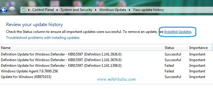Windows 7  এর ইন্সটল কৃত প্রোগামের উপডেট  আনইন্সটল করুন সহজেই