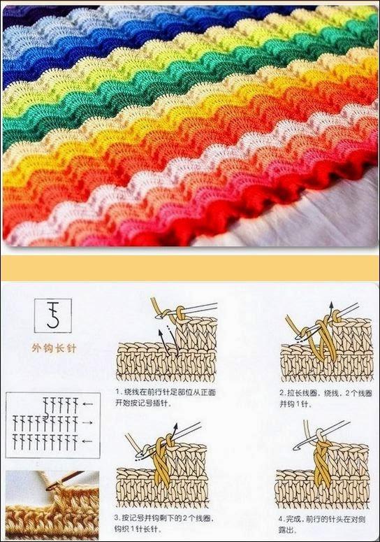 Manta crochet ganchillo punto ondas