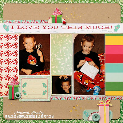 Cosmo Cricket_Christmas Scrapbook Page_Presents_Son