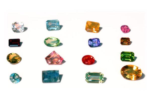 différentes pierres minérales