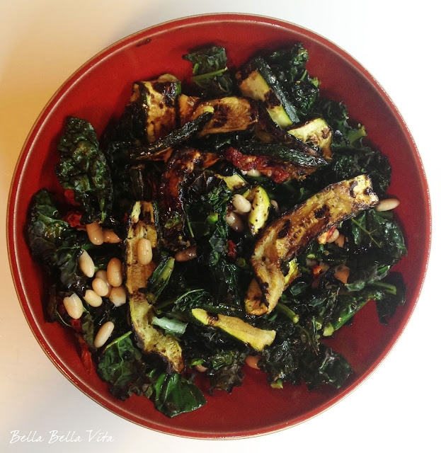 Grilled Kale, Zucchini and Cannellini Bean Salad