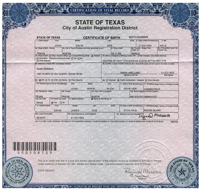 Examples Of Best Certificate Texas Birth Certificate