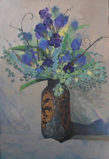 Rustic Vase Original Still Life Iris Floral Painting By Colorado Artist Susan Fowler