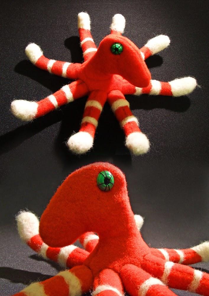 Red handmade octopus