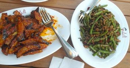 Hauptgerichte: Bohnen mit Hack und scharfe Auberginen im Tian Fu Berliner Straße  - Chinesisches Restaurant