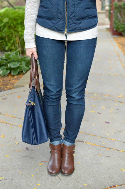 navy longchamp bag with brown booties