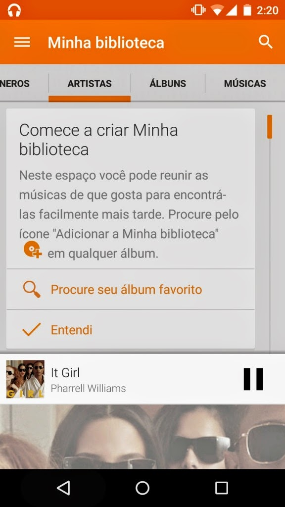 Interface do Google Play Música Minha biblioteca