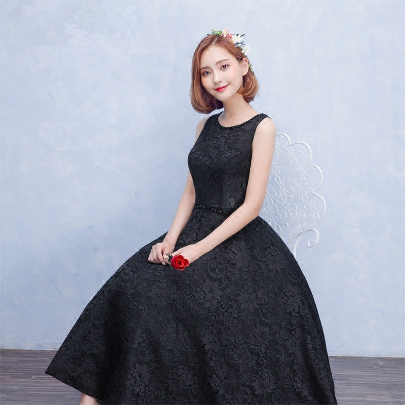 New 2016 Sleeveless Black Sequin Collar Flare Lace Evening Dress