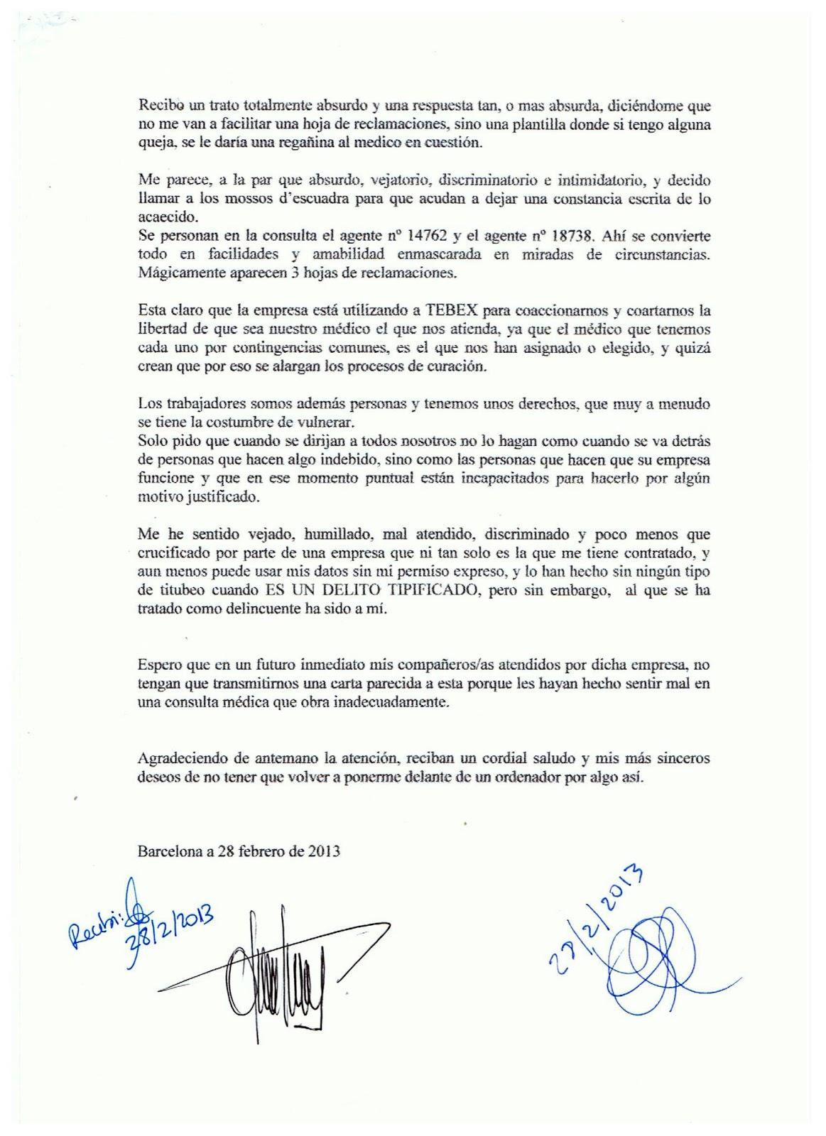Carta de queja sobre el trato recibido por un trabajador de BSM en
