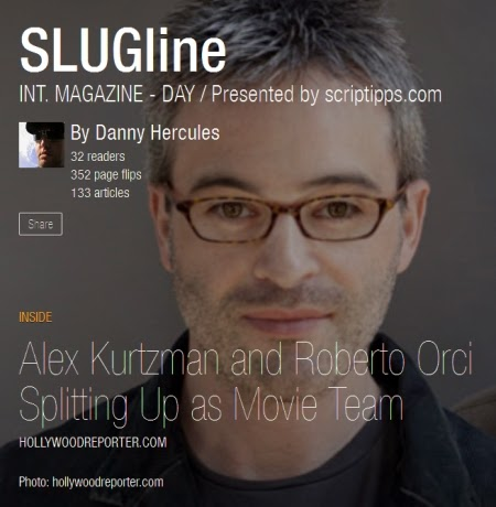 Screenwriter Alex Kurtzman on the cover of SLUGline, a Flipboard magazine for screenwriters presented by ScripTipps