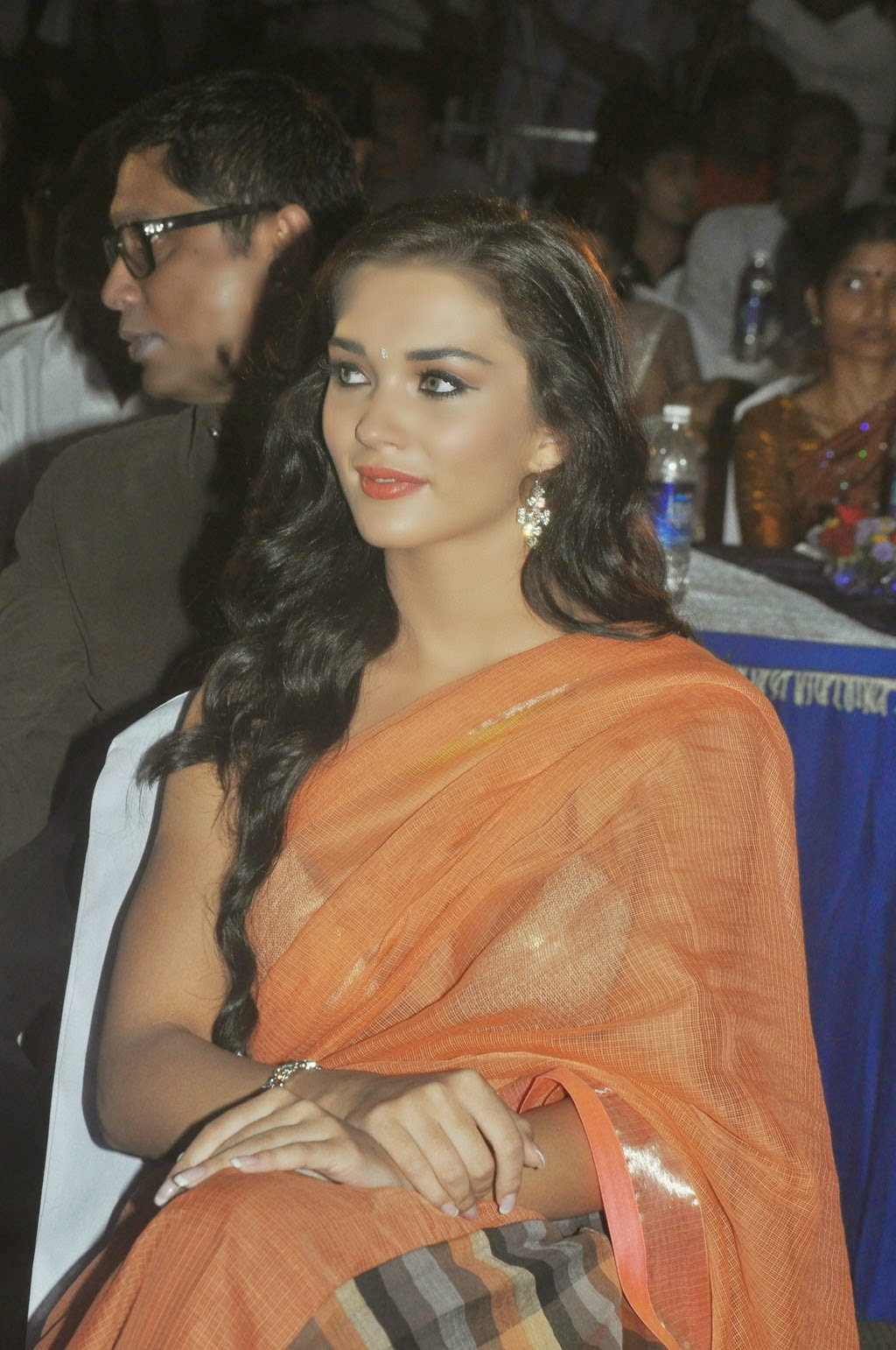 amy jackson looking hot and sexy in transparent saree