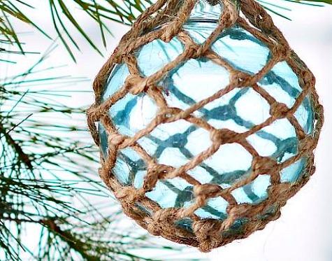 Blue Rope Net Glass Float Ornaments