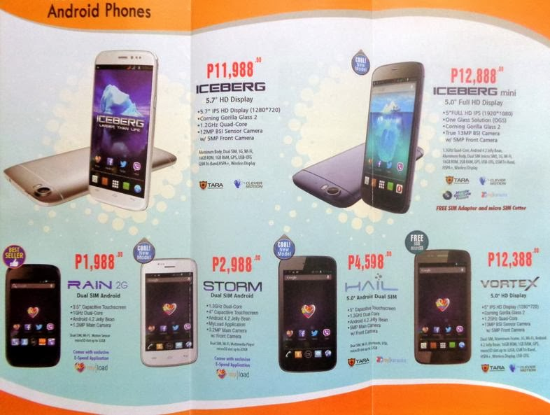 Price list 2015 myphone single dual quad octa core for O tablet price list 2014