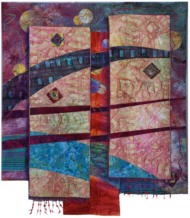 Abstract fiber art quilt showing depth