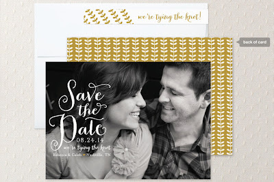 calligraphy save the date in gold