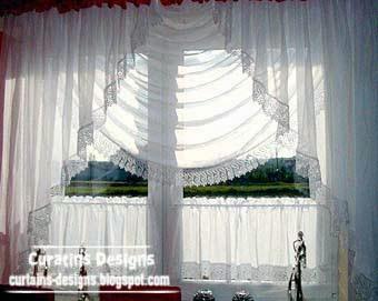 Unique light white curtains designs for kitchen window decoration