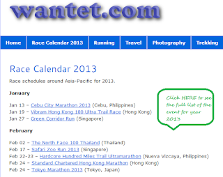 2013 Asia Pacific Running Events Calendar