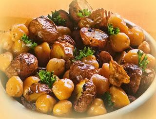 Papitas al aceite de oliva y miel