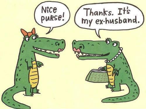 Funny Alligator Ex-Husband Purse Cartoon Image