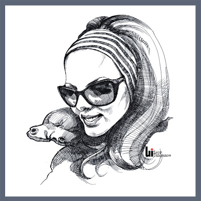 free portrait of a woman in sunglasses by Igor Lukyanov (cross-hatching)