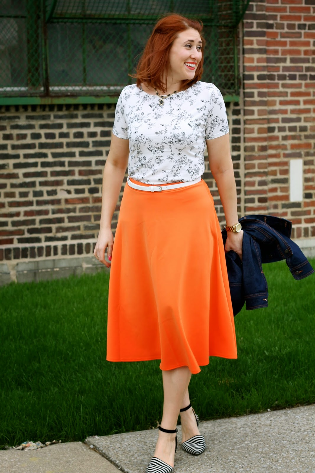 HOT PINK style: Orange Midi Skirt