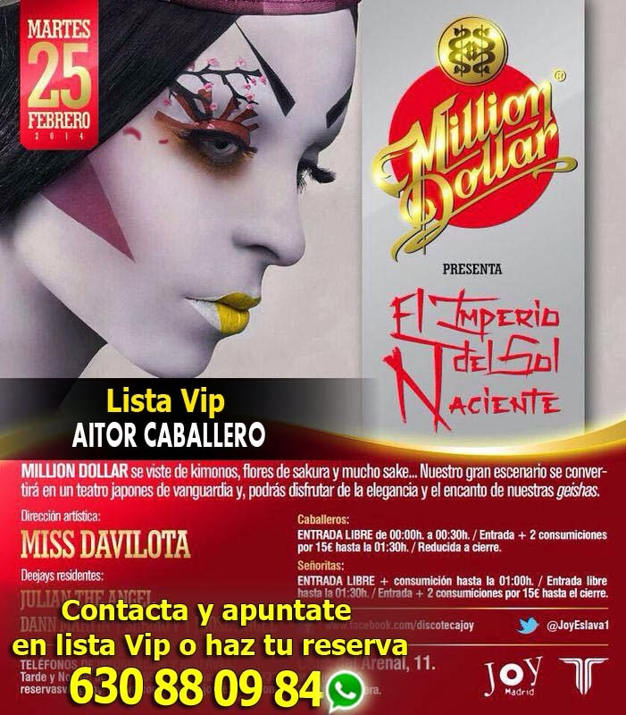 MILLION DOLLAR en Joy Eslava el Martes 25 de Febrero