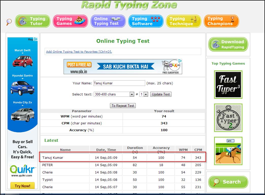 Typing speed of tanuj
