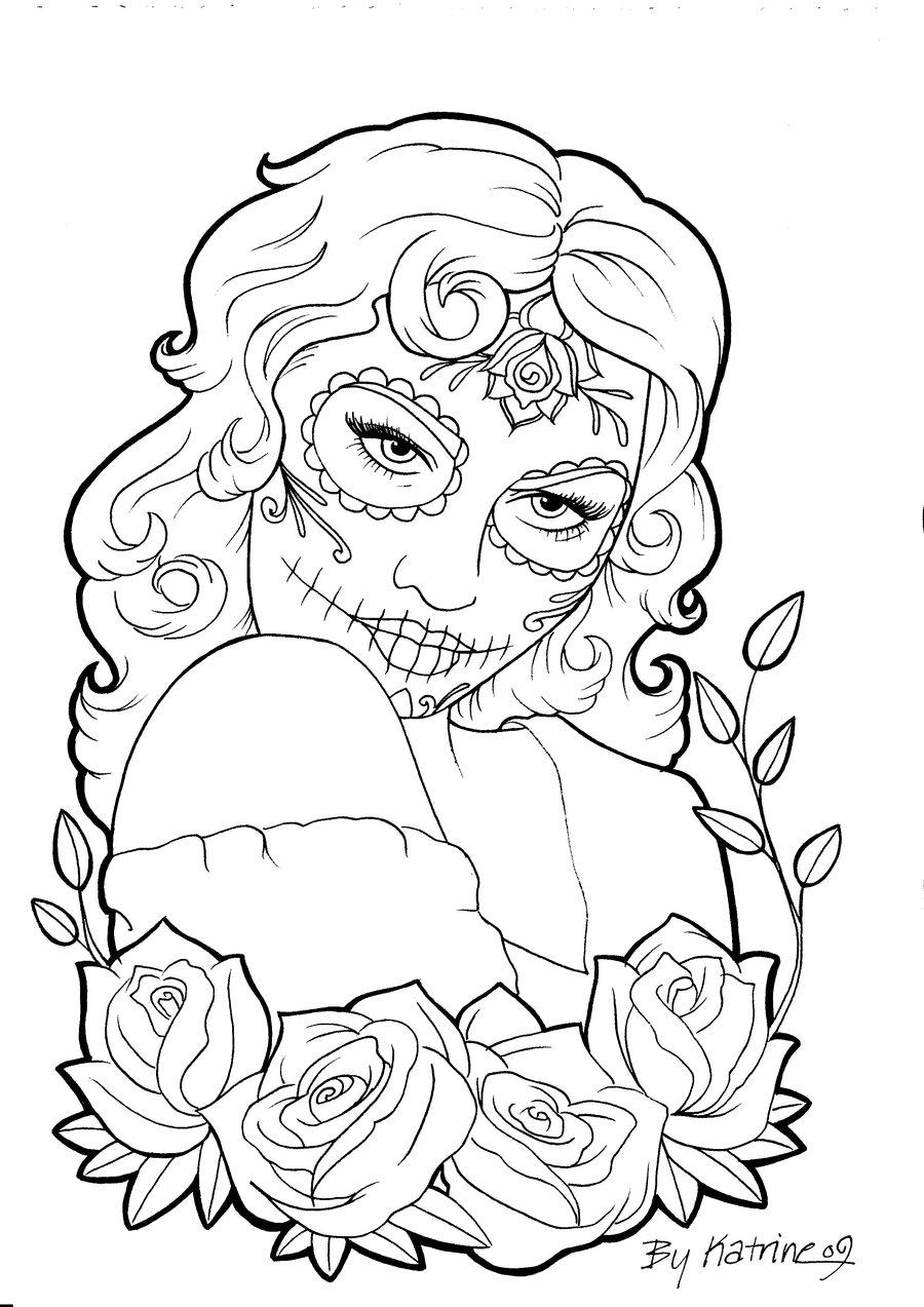 calavera catrina coloring pages - photo#11