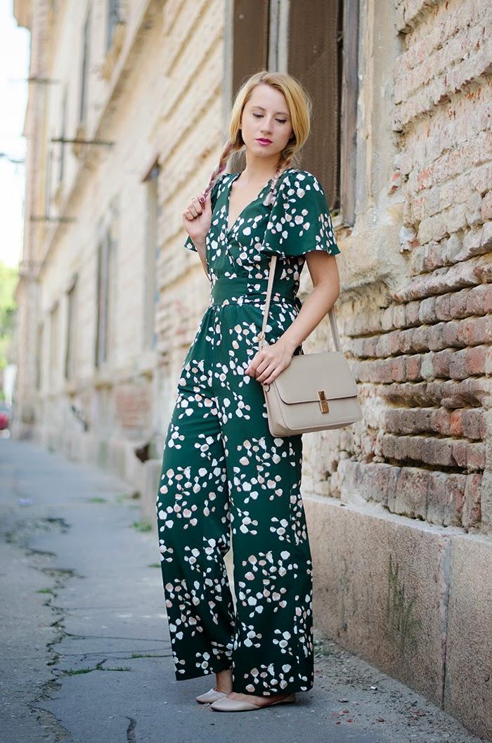 H&M green jumpsuit Asos flats
