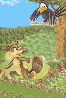 La Zorra y el Cuervo hambriento fábulas cortas con moraleja de Esopo