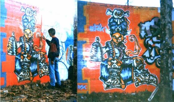 Pintando graffitis en Barcelona