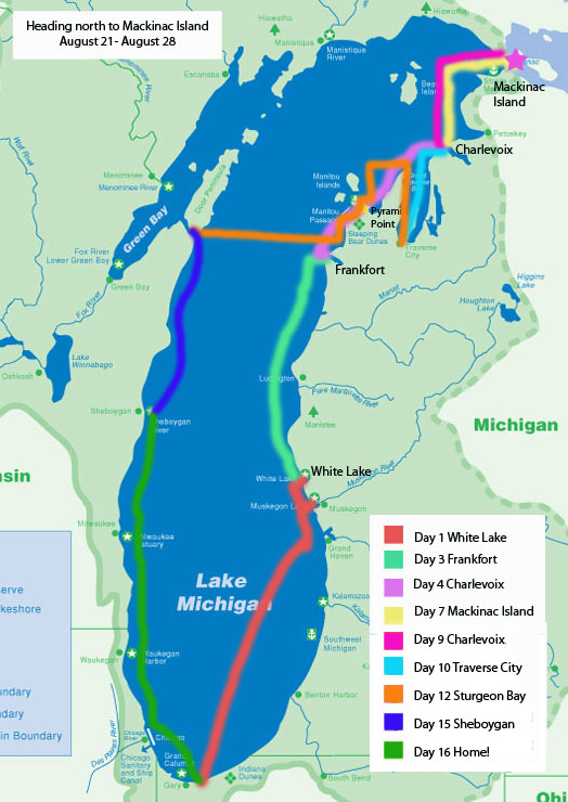 Lake Michigan (and beyond) Boating Adventures: Lake Michigan Trip Map
