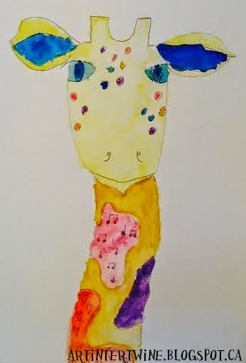 watercolor and patterned giraffe art lesson for elementary