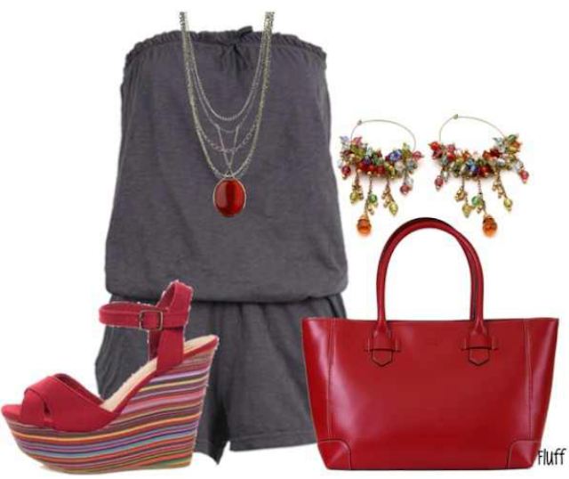 Grey blouse, red hand bag and high heel sandals for ladies