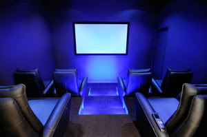 Modern Home Theater with Blue Lighting