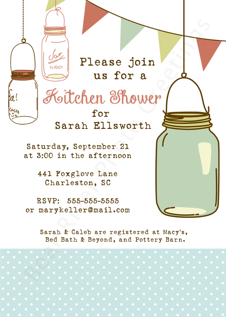 Kitchen Shower Invitation -- Mason Jars
