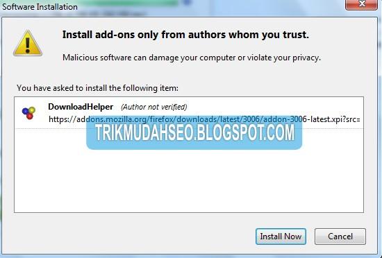 konfirmasi kesediaan anda untuk menginstall addon video download dari youtube
