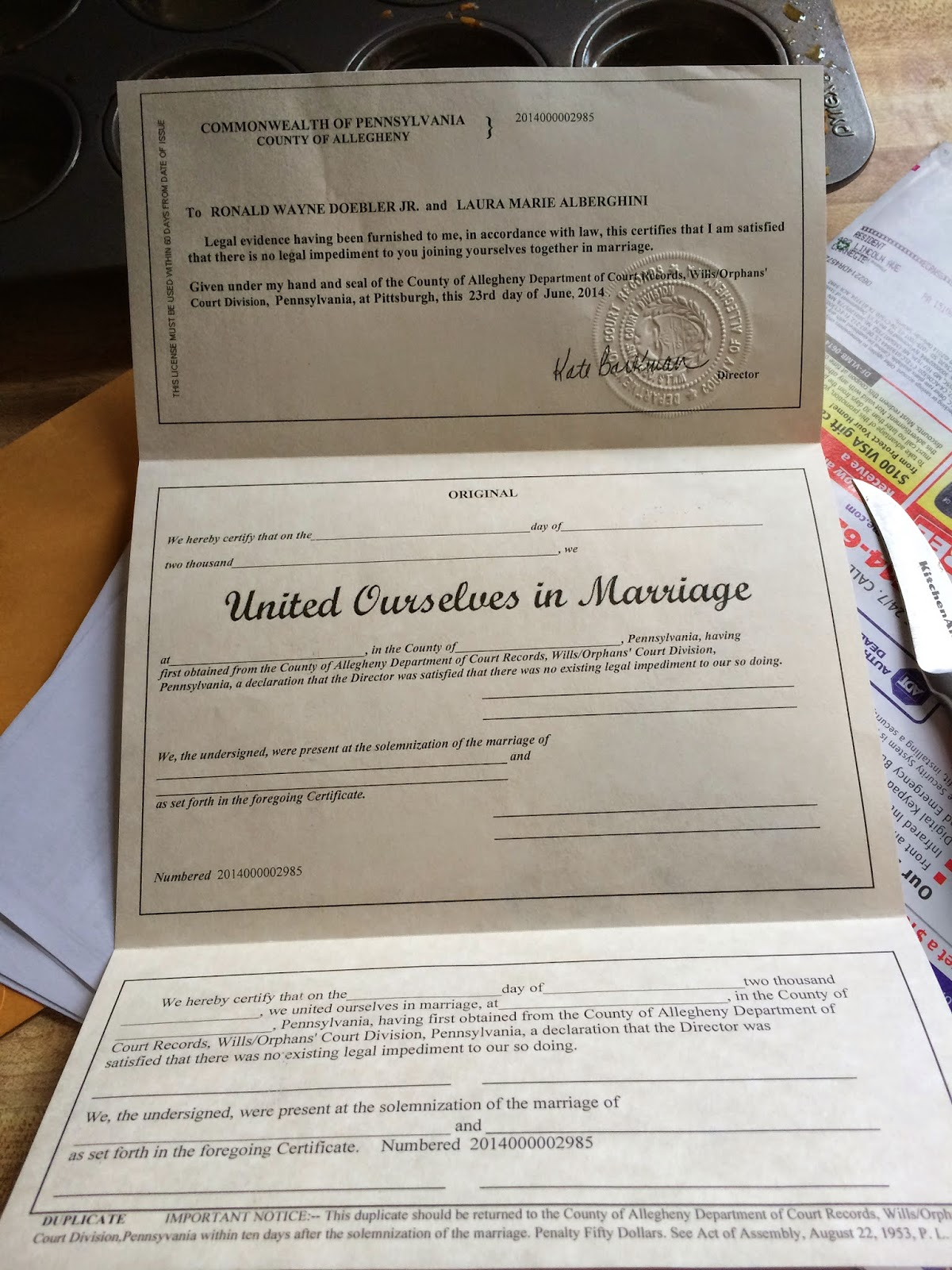 Doeblerghini Bunch:  Around Here Update - Self Uniting Marriage License