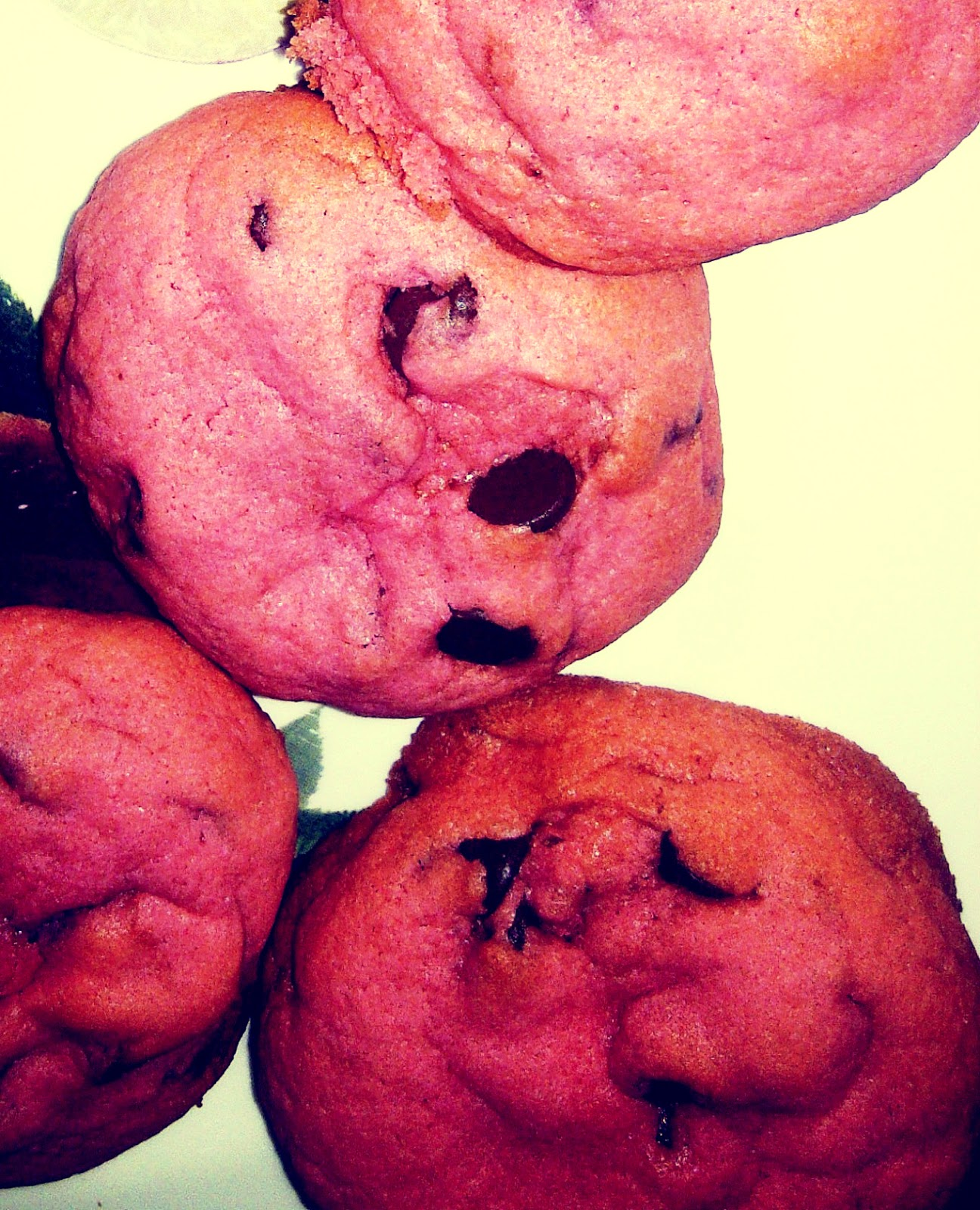 Pink Chocolate Chip Cookies Recipe — Dishmaps