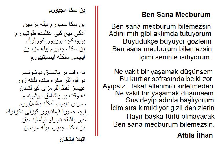 Osmanlı Türkçesi Ben Sana Mecburum Attila Ilhan