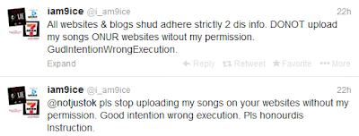 Notice to all Celebrity Website Owners and Blog owner 9ICE Says You should stop Uploading his Songs.