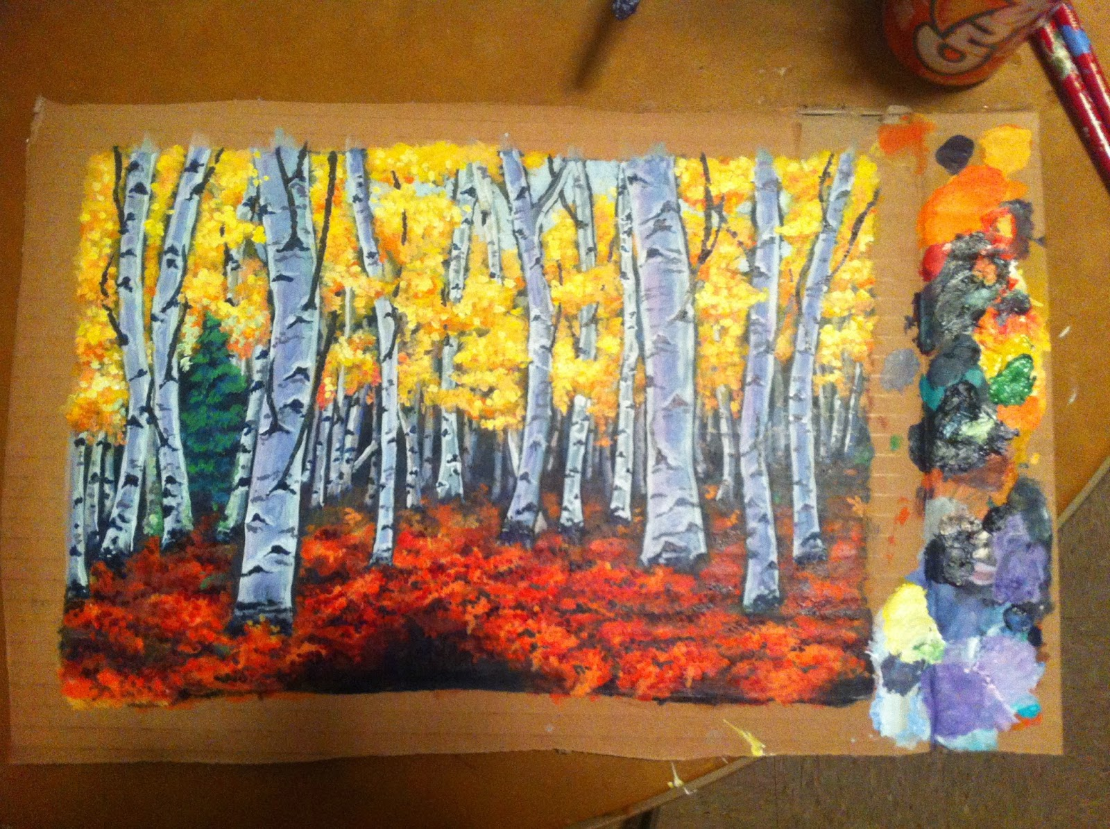 Aspen forest acrylic painting
