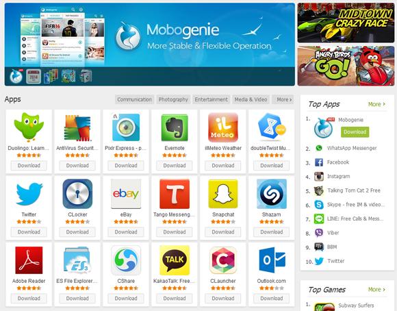 تحميل برنامج سوق Mobogenie لتحميل التطبيقات والالعاب مجانا للكمبيوتر والاندرويد