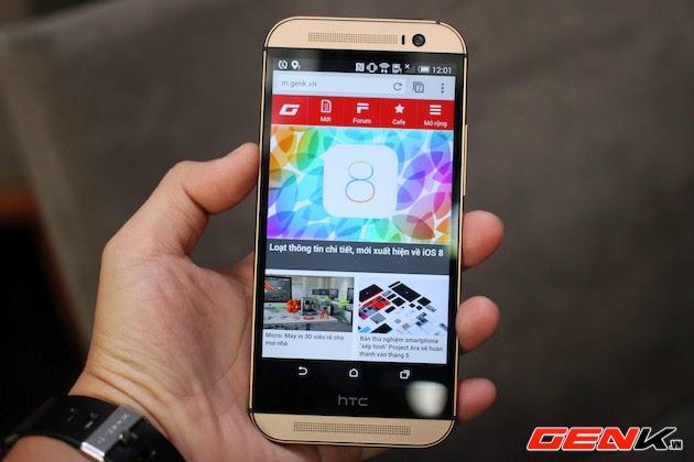 Đập hộp HTC One M8 xách tay màu vàng hổ phách