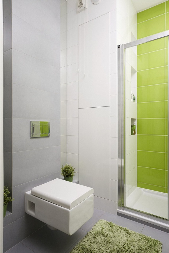 Lavadero De Baño Moderno: lima y blanco con pequeñas proporciones de azul hacia el lavadero