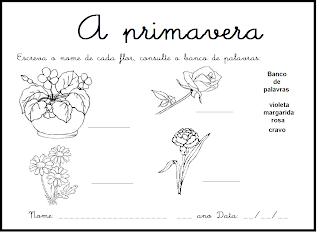 Atividades e Desenhos para Colorir da Primevara